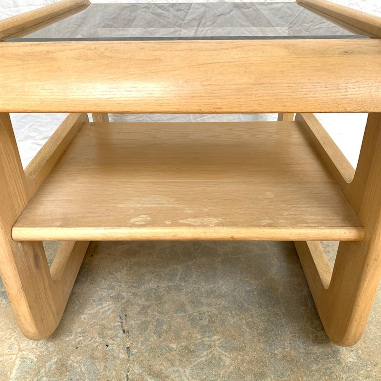Pair of Lou Hodges White Oak and Smoked Glass End or Side Tables, USA, 1970s For Sale 3