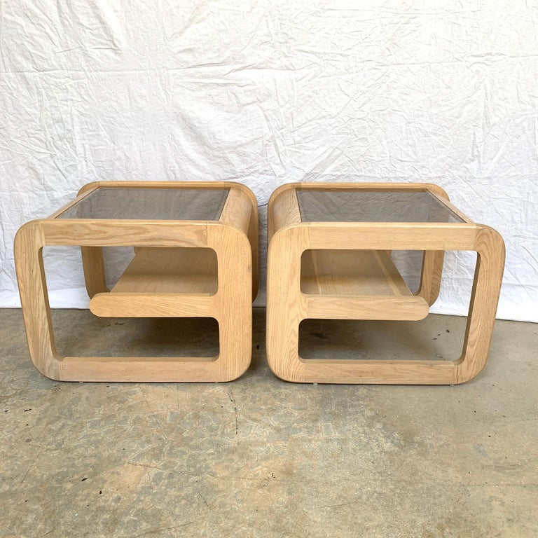 Pair of Lou Hodges White Oak and Smoked Glass End or Side Tables, USA, 1970s For Sale 4