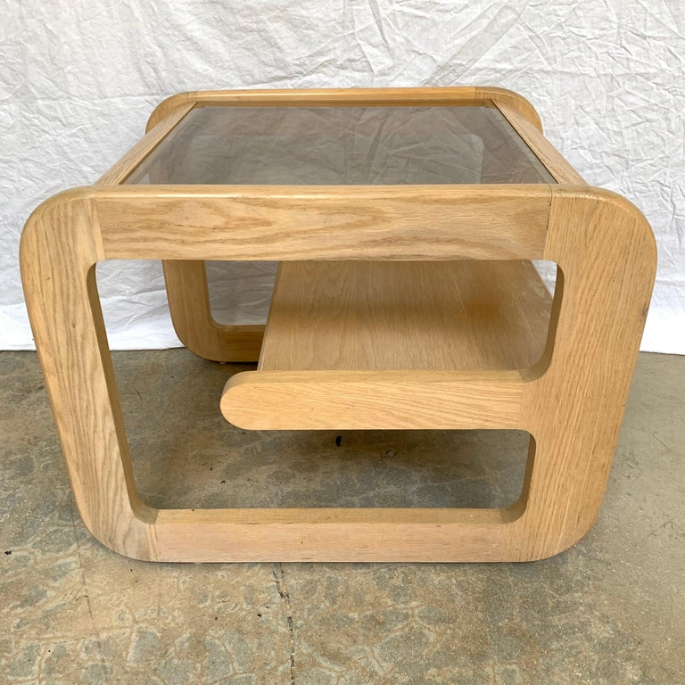 Organic Modern Pair of Lou Hodges White Oak and Smoked Glass End or Side Tables, USA, 1970s For Sale