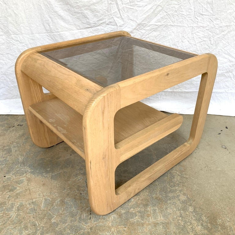 Beveled Pair of Lou Hodges White Oak and Smoked Glass End or Side Tables, USA, 1970s For Sale