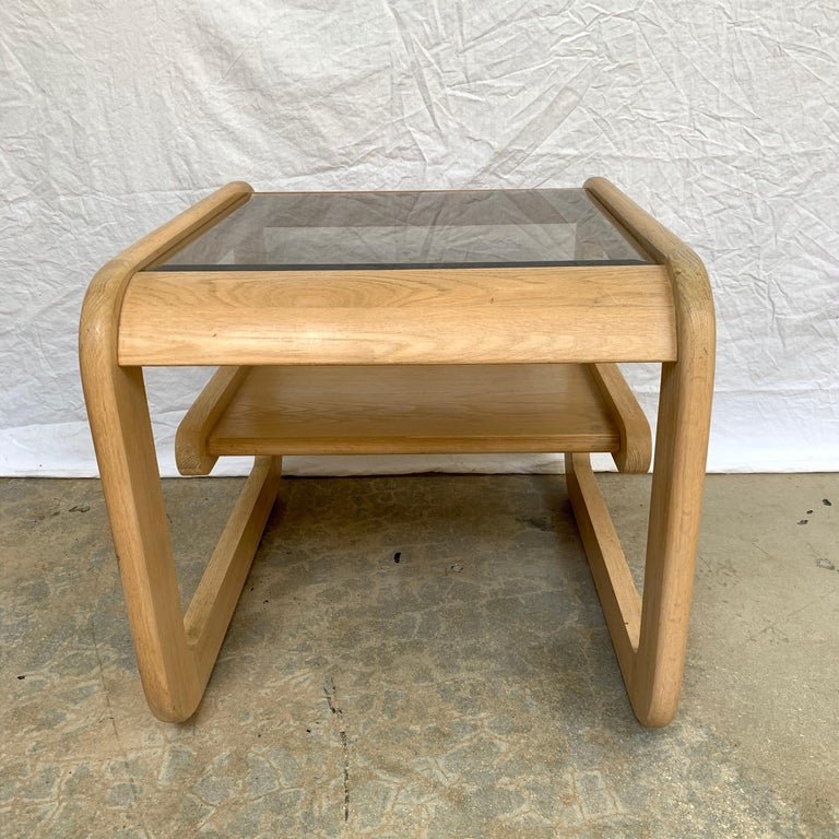 20th Century Pair of Lou Hodges White Oak and Smoked Glass End or Side Tables, USA, 1970s For Sale