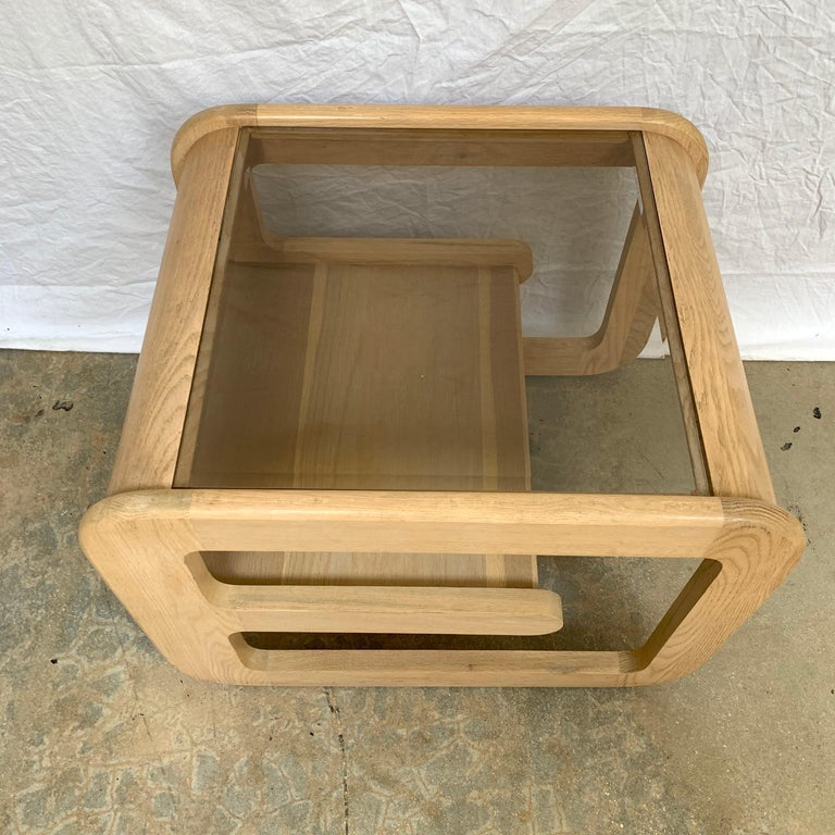 Pair of Lou Hodges White Oak and Smoked Glass End or Side Tables, USA, 1970s For Sale 1