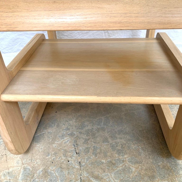 Pair of Lou Hodges White Oak and Smoked Glass End or Side Tables, USA, 1970s For Sale 2