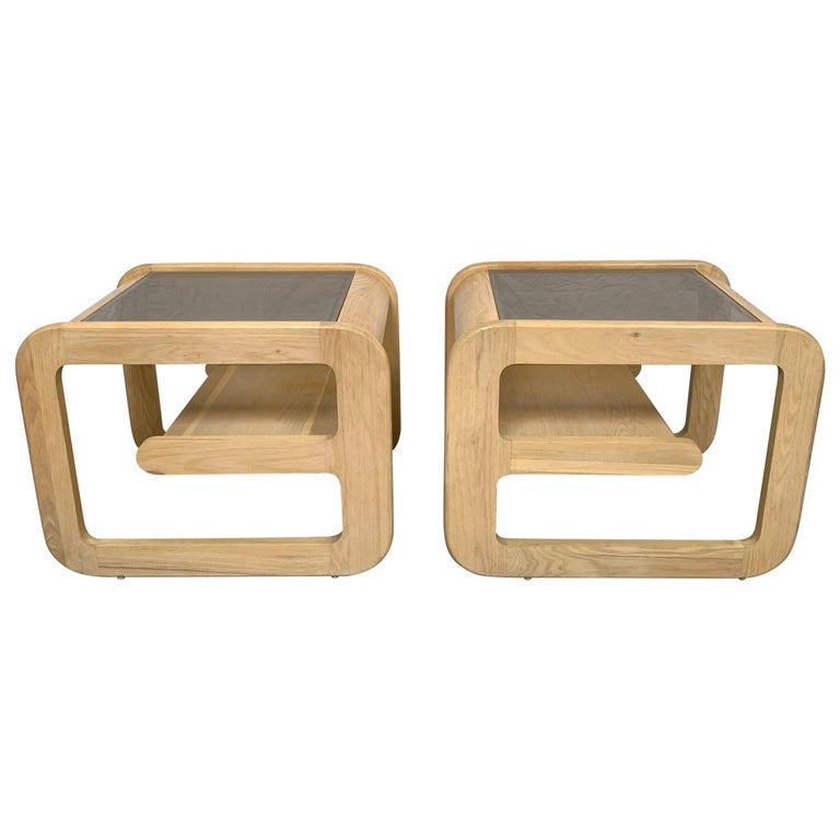 Pair of Lou Hodges White Oak and Smoked Glass End or Side Tables, USA, 1970s For Sale