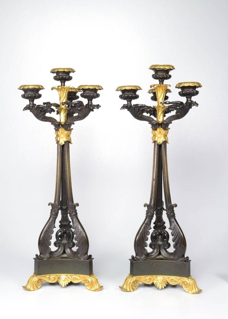 Pair of Louis-Philippe Bronze and Ormolu Candelabra, circa 1840 For Sale 4