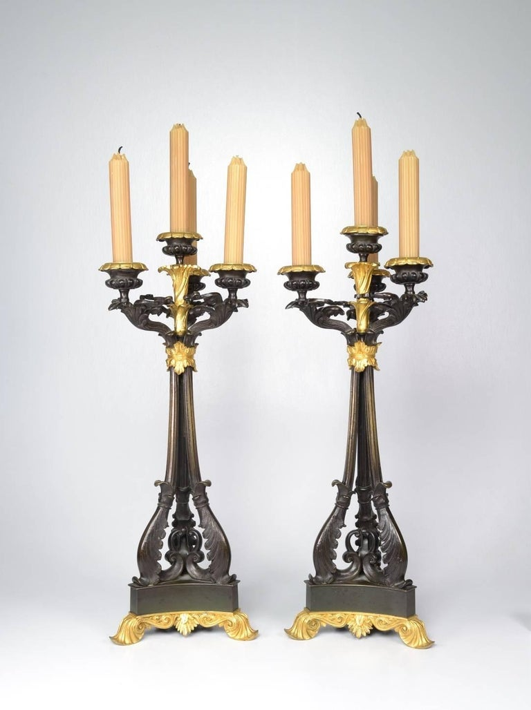 Louis Philippe Pair of Louis-Philippe Bronze and Ormolu Candelabra, circa 1840 For Sale