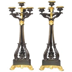 Pair of Louis-Philippe Bronze and Ormolu Candelabra, circa 1840