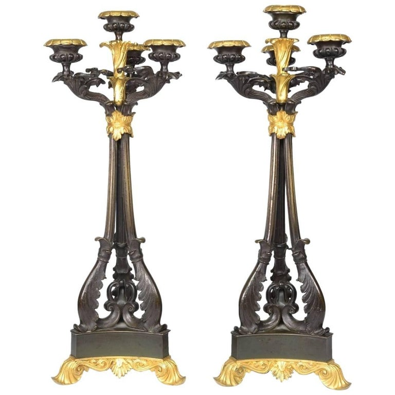 Pair of Louis-Philippe Bronze and Ormolu Candelabra, circa 1840 For Sale