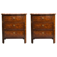 Pair of Louis Philippe Petite Commodes with Marble Tops