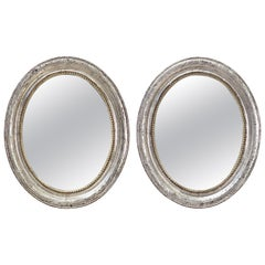 Pair of Louis Philippe Silver Gilt Oval Framed Mirrors (H 24 1/4 x W 20)