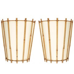Pair of Louis Sognot Bamboo and Rattan Sconces, 1950