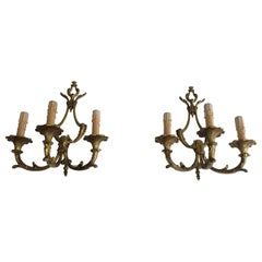 Pair of Louis XV Style 3-Light Bronze Sconces, French, circa 1960