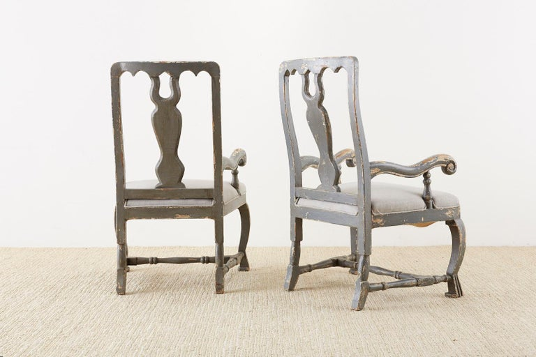 Pair of Louis XIII Distressed Lacquer Armchairs by Harbinger For Sale 4