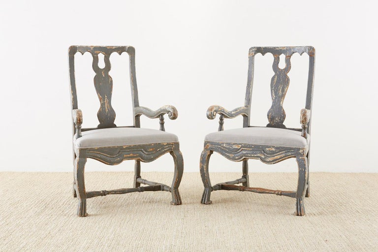 Contemporary Pair of Louis XIII Distressed Lacquer Armchairs by Harbinger For Sale