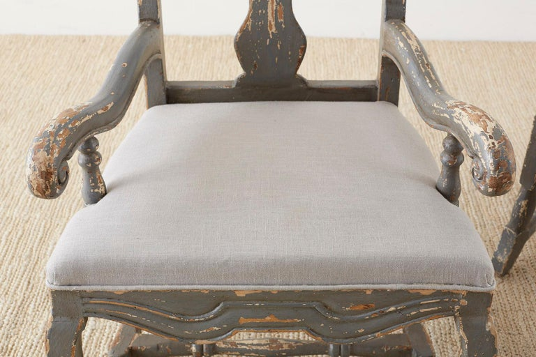 Linen Pair of Louis XIII Distressed Lacquer Armchairs by Harbinger For Sale