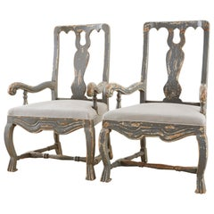 Pair of Louis XIII Distressed Lacquer Armchairs by Harbinger