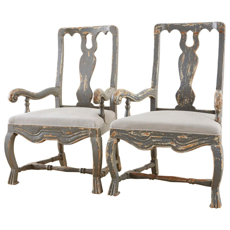 Pair of Louis XIII Distressed Lacquer Armchairs by Harbinger For Sale