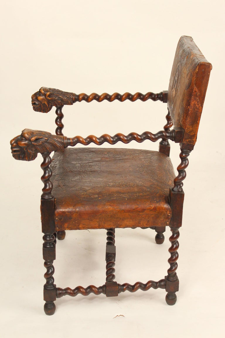 Early 20th Century Pair of Louis XIII Style Armchairs For Sale