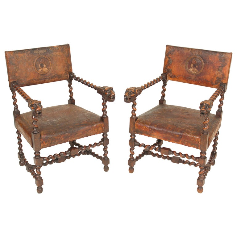 Pair of Louis XIII Style Armchairs For Sale