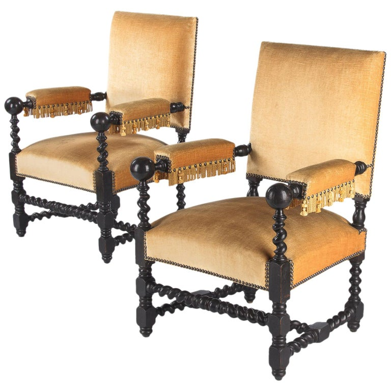 Pair of Louis XIII Style Ebonized Wood and Upholstered Armchairs, 1870s For Sale