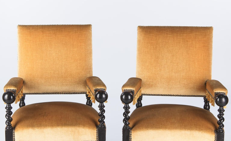 Pair of Louis XIII Style Ebonized Wood and Upholstered Armchairs, 1870s For Sale 5