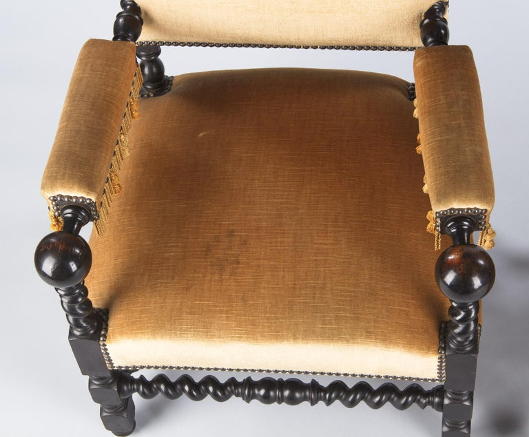 Pair of Louis XIII Style Ebonized Wood and Upholstered Armchairs, 1870s For Sale 6