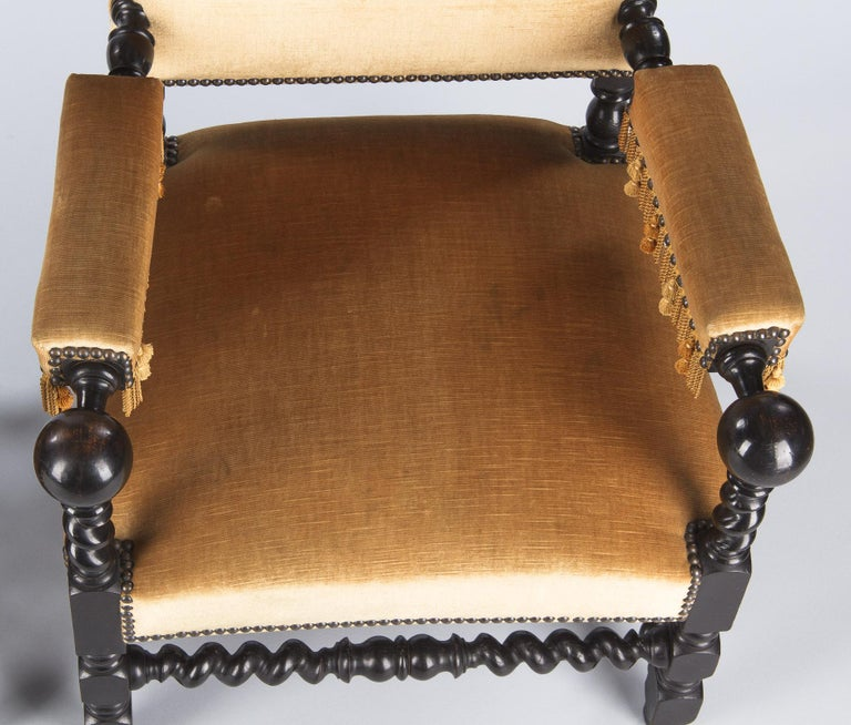 Pair of Louis XIII Style Ebonized Wood and Upholstered Armchairs, 1870s For Sale 7