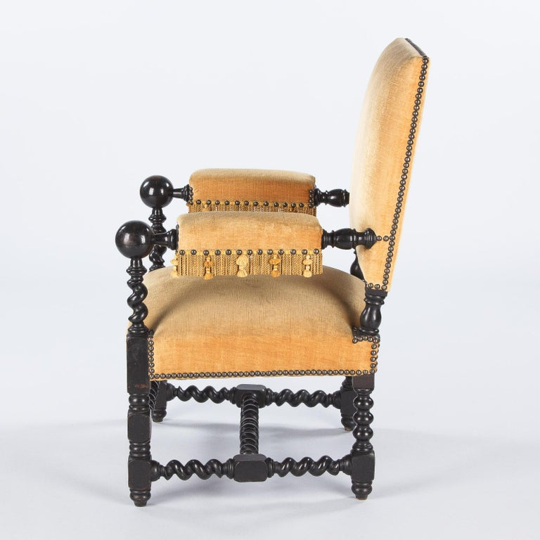 Pair of Louis XIII Style Ebonized Wood and Upholstered Armchairs, 1870s For Sale 8
