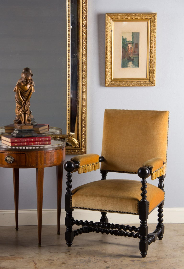 Pair of Louis XIII Style Ebonized Wood and Upholstered Armchairs, 1870s For Sale 11