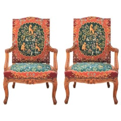 Pair of Louis XIV Needlepoint Upholstered Walnut French or Italian Armchairs