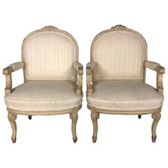 Pair of Louis XIV Neoclassical Style Cream Painted French Bergere Armchairs