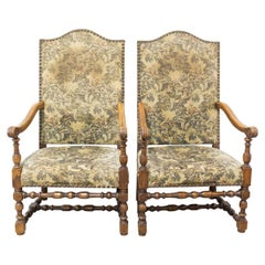 Pair of Louis XIV Revival Armchairs French, Midcentury to Be Re-Upholstered