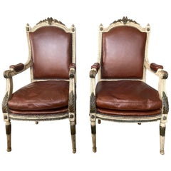 Pair of Louis XIV Style Armchairs with Leather Upholstery