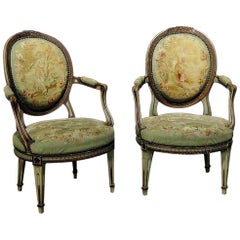 Pair of Anique Louis XIV Style Fauteuils Armchairs with needlepoint tapestry