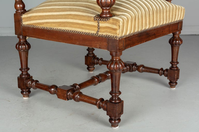 Pair of Louis XIV Style French Walnut Fauteuils For Sale 5