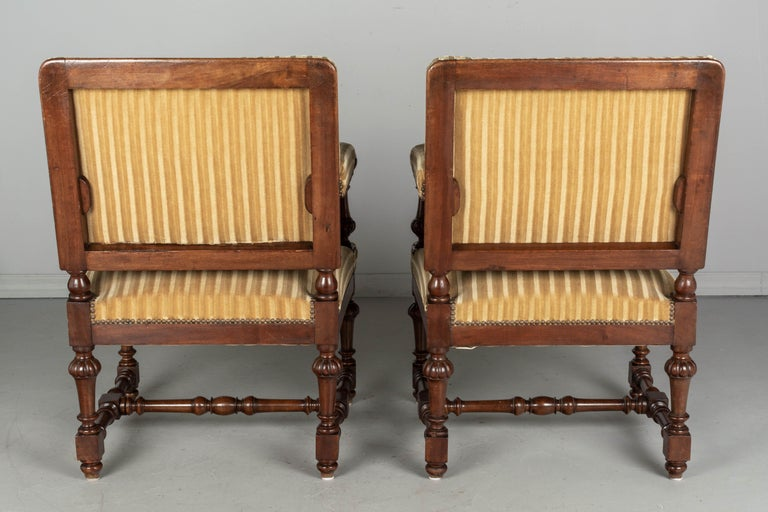 Pair of Louis XIV Style French Walnut Fauteuils For Sale 1