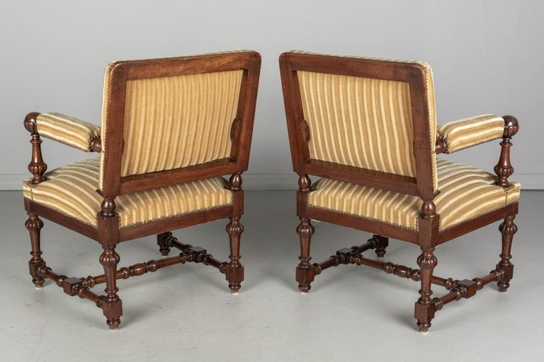 Pair of Louis XIV Style French Walnut Fauteuils For Sale 2