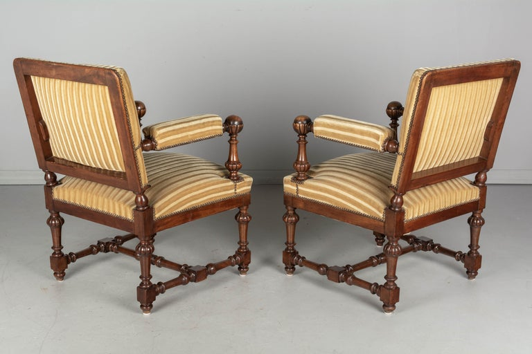 Pair of Louis XIV Style French Walnut Fauteuils For Sale 3