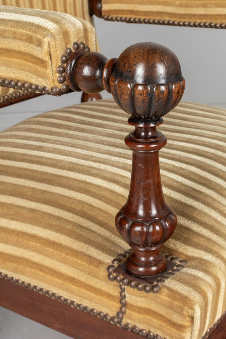 Pair of Louis XIV Style French Walnut Fauteuils For Sale 4