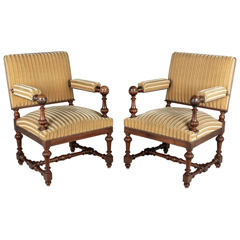 Pair of Louis XIV Style French Walnut Fauteuils For Sale