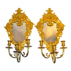Pair of Louis XIV Style Mirrored Sconces