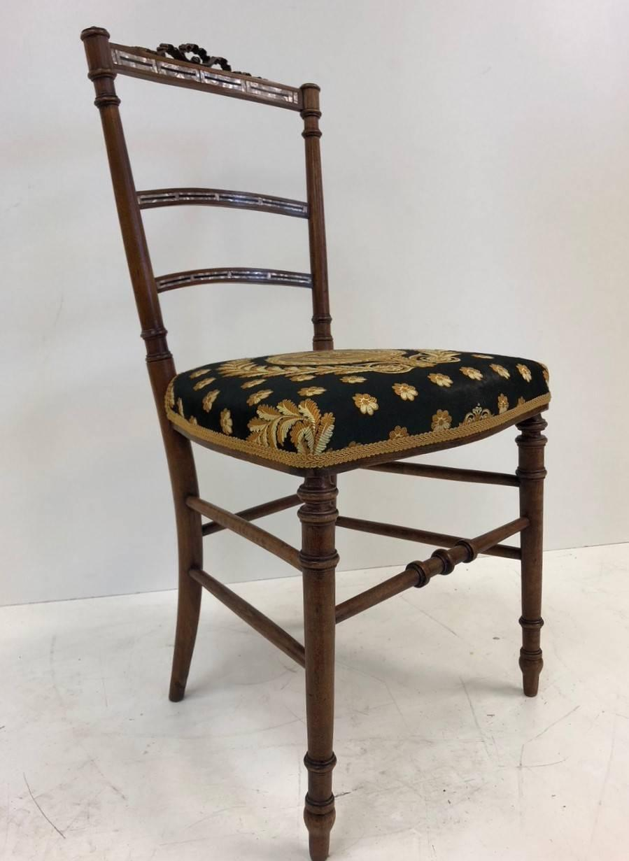 Pair Of Louis XIV Style Mother Of Pearl Inlay Chairs. The Chairs Are