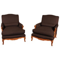 Pair of Louis XV Armchairs in Oak from the 19th Century