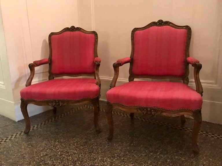 French Pair of Louis XV Beechwood Fauteuils, Stamped Leduc, Estate of Greta Garbo For Sale