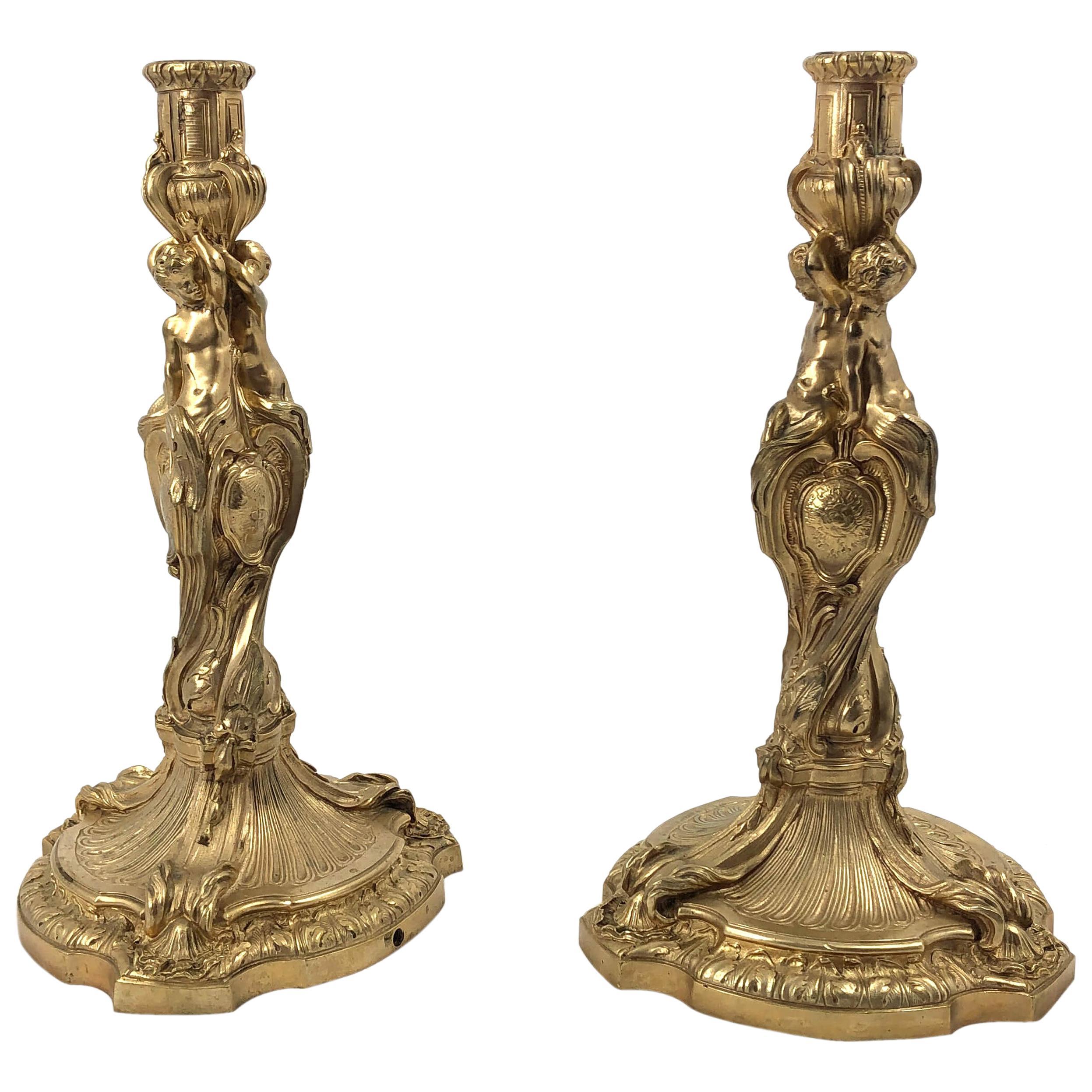 Pair of Louis XV Bronze Candlesticks