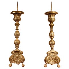 Pair of Louis XV Candlesticks, 18th Century