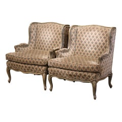 Pair of Louis XV Carved Painted Armchairs by Minton Spidell