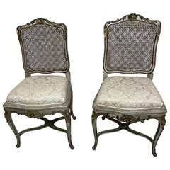 Pair of Louis XV French Style Cane Back Grey and Silver Side Chairs