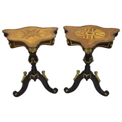 Pair of Louis XV French Style Repro Marquetry Inlay Side Tables Bronze Figures