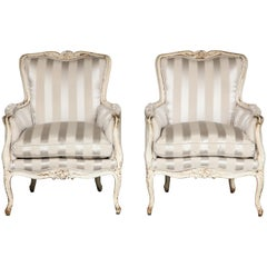 Pair of Louis XV Grey-Painted Bergere Armchairs